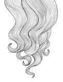 Hair background. Outline hairdressing salon frame design. Curly hair border Outline hairdressing salon frame design stock illustration