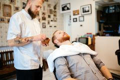Hair beard and mustache treatment royalty free stock images