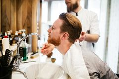 Hair beard and mustache treatment royalty free stock photography