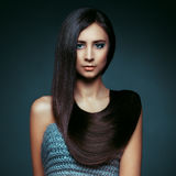 Hair. Beautiful Brunette Girl. Healthy Long Hair. Beauty Model W Stock Images