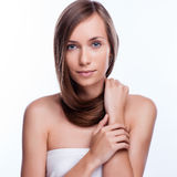 Hair. Beautiful Brunette Girl. Healthy Long Hair. Royalty Free Stock Photography