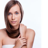Hair. Beautiful Brunette Girl. Healthy Long Hair. Beauty Model Woman. Hairstyle Royalty Free Stock Photos