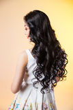 Hair. Beautiful Brunette Girl. Healthy Long Hair Royalty Free Stock Photography