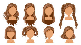 Hair. Beautiful hairstyle Brown Hair woman modern fashion for assortment. long hair, short hair, curly hair salon hairstyles and trendy haircut icon set isolated royalty free illustration