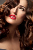 Woman with Beautiful Curly Hair Royalty Free Stock Image