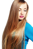 Hair beauty. Portrait of young beautiful woman with long strong blond hair Royalty Free Stock Photography