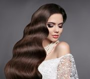 Hair Beauty. Elegant bride with Wavy hairstyle. Attractive Sexy Royalty Free Stock Images