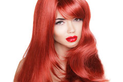 Hair. Beauty Fashion Model Woman with Long and Healthy Red Hair. Beauty Brunette Girl isolated on white background Stock Images