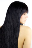 Hair. Beauty Girl with Long Straight Black Healthy Hair Stock Photography