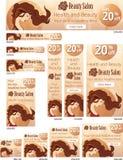 Hair beauty salon web banners set Royalty Free Stock Photos