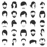 Hair 25 black simple icons set for web Royalty Free Stock Photo
