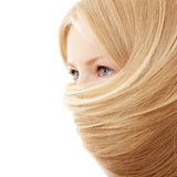 Hair blond beautiful teen girl isolated on white Royalty Free Stock Photography