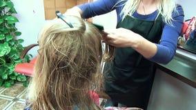 Hair blond cut stock footage