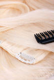 Hair blond extensions Stock Photos