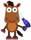 Hair blower. A funny, illustration of a horse using a hair blower stock illustration