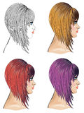 Hair Bob. Woman with bob hair in different colors, fashion illustration Stock Image