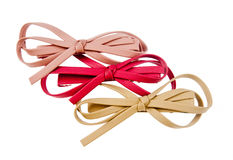 Hair bows. Collection of leather hair bows royalty free stock image