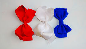 Hair Bows/Red, White, and Blue. Hair Bows of Red, White, and Blue colors. Memorial day and 4th of July fashion royalty free stock image