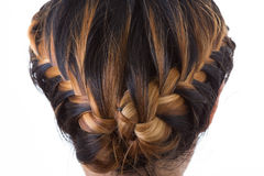 Hair braid style. Long hair braid style on white background Stock Photography