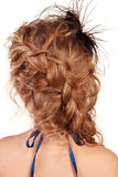 Hair in braid, view of modern female hairstyle Royalty Free Stock Photography