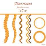 Hair braided on white. Seamless braids. Hair braids, hair plaits on white background. Three strand braid brush, twist plait brush, seamless braids, tress royalty free illustration