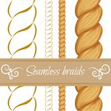 Hair braided on white. Seamless twist. Seamless hair braid, twist plait and it's outline on white. Vector template brush twist plait for hair styles and patterns stock illustration