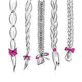 Hair braids set. Line art silhouette hair Illustration set of 5 different hair braids with pink ribbon bows on white background vector eps 10 vector illustration
