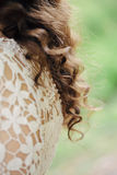 Hair bride back on nature background. Hair bride with a place for inscription Royalty Free Stock Photo