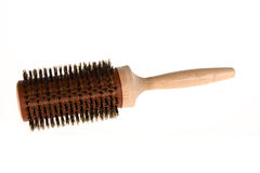 Hair brush. With wooden handle isolated Stock Image