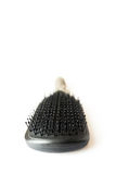 Hair brush isolated close up front tip. Hair brush close up detail vertical shot isolated on white Royalty Free Stock Photography