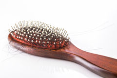 Hair brush with lost hair Stock Photo