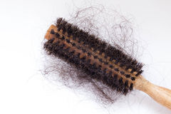 Hair brush with lost hair on it Royalty Free Stock Photo
