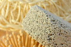 Hair brush on a terry cloth towel Royalty Free Stock Photos