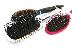 Hair brushes. On whte background Stock Photography