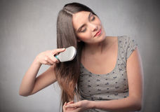 Hair brushing Royalty Free Stock Photo