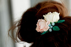 Hair in a bun.Hair accessory handmade. Close. Face not visible Stock Images