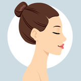 Hair Bun Hairstyle Stock Photo