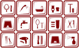 Hair care and bathroom icons royalty free illustration