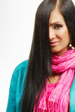 Hair care beauty woman with long hair. Leather jacket and pink scarf. Isolated on white Stock Photo