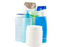 Hair care bottles isolated on white Stock Photo