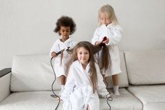 Hair care in children. Baby hairstyles royalty free stock photos