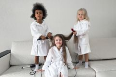 Hair care in children. Baby hairstyles stock images