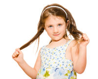 Hair care concept girl holding her long hair Royalty Free Stock Images