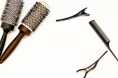 Hair care concept. Hairpins and combs. There is a place for text. stock image