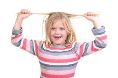 Hair care concept with portrait of girl holding her unruly, tangled long hair isolated on white Stock Images