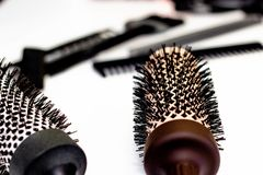 Hair care concept. Round combs stock photography