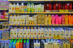 Hair care and cosmetic products Royalty Free Stock Image