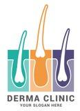 Hair care dermatology logo icon set with follicle medical diagnostics symbols. Alopecia treatment and transplantation concept. Vec. Tor illustration Royalty Free Stock Photos