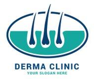 Hair care dermatology logo icon set with follicle medical diagnostics symbols. Alopecia treatment and transplantation concept. Vec. Tor illustration Stock Photography