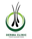 Hair care dermatology logo icon set with follicle medical diagnostics symbols. Alopecia treatment and transplantation concept. Vec. Tor illustration Royalty Free Stock Image